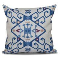E by Design Jodhpur Medallion 2 Geometric Print Square Throw Pillow in Blue