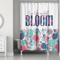 Designs Direct 71-Inch x 74-Inch In Full Bloom Shower Curtain in Teal