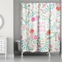 Designs Direct 71-Inch x 74-Inch Smell the Flowers Shower Curtain in Pink