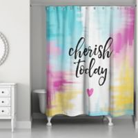 Designs Direct 71-Inch x 74-Inch Cherish Today Shower Curtain in Teal