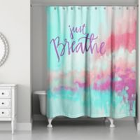 Designs Direct 71-Inch x 74-Inch Just Breathe Shower Curtain in Teal