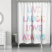 Designs Direct 71-Inch x 74-Inch Live Laugh Love Always Shower Curtain in White