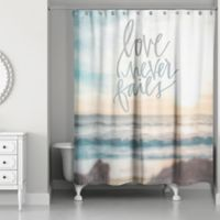 Designs Direct 71-Inch x 74-Inch Love Never Fails Shower Curtain in Blue