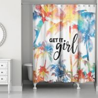 Designs Direct 71-Inch x 74-Inch Get It Girl Shower Curtain in Orange