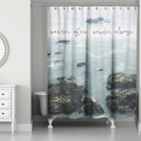 Designs Direct 71-Inch x 74-Inch Wander Often Wonder Always Shower Curtain in Blue
