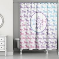 Designs Direct 71-Inch x 74-Inch Unicorns Made Me Do It Shower Curtain in Purple