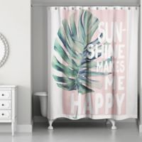 Designs Direct 71-Inch x 74-Inch Sunshine Makes Me Happy Shower Curtain in Pink