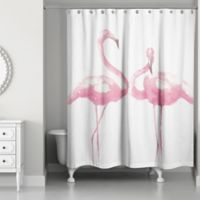Designs Direct 71-Inch x 74-Inch Flamingo Friends Shower Curtain in Pink