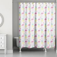 Designs Direct 71-Inch x 74-Inch Tropical Icons Shower Curtain in Pink