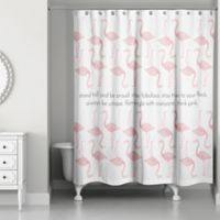 Designs Direct 71-Inch x 74-Inch Stay True to Your Flock Shower Curtain in Pink