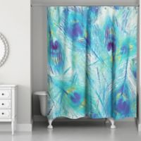 Designs Direct 71-Inch x 74-Inch Painted Peacock Feathers Shower Curtain in Blue