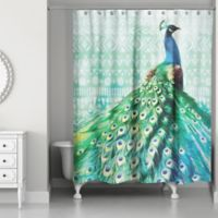 Designs Direct 71-Inch x 74-Inch Watercolor Boho Peacock Shower Curtain in Blue