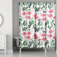 Designs Direct 71 Inch X 74 Tropical Flamingo Oasis Shower Curtain In Green