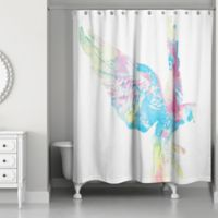 Designs Direct 71-Inch x 74-Inch Vibrant Parrot Shower Curtain in Blue