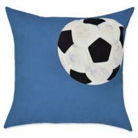E by Design Soccer Ball Geometric Throw Pillow in Blue