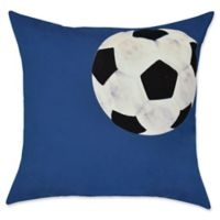 E by Design Soccer Ball Geometric Throw Pillow in Navy