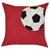 E by Design Soccer Ball Geometric Throw Pillow in Red