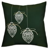 E by Design Decorative Holiday Square Throw Pillow in Dark Green