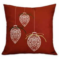 E by Design Decorative Holiday Square Throw Pillow in Red