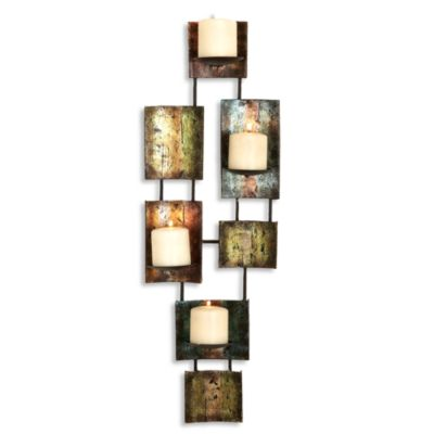 Metal Multi-Color Pillar Candle Tall Rectangular Wall Sconce - Bed Bath & Beyond