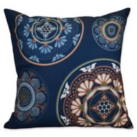 E by Design Medallions Square Throw Pillow in Blue