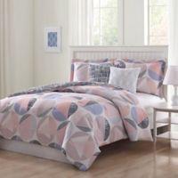 Studio 17 Jagger 5-Piece Queen Reversible Comforter Set in Blue/Blush