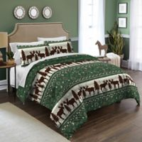 Destinations Moose Fairisle Twin Comforter Set in Green