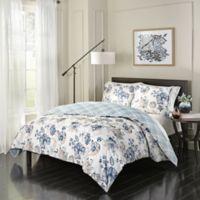 Marble Hill Giselle King Reversible Comforter Set in Blue/Ivory