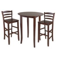 Winsome Fiona 3-Piece High Table Set in Antique Walnut