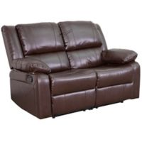 Flash Furniture Faux Leather Reclining Loveseat in Brown