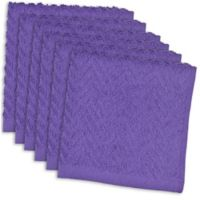 Design Imports 6-Pack Zigzag Kitchen Towels in Purple