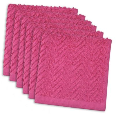 Design Imports 6 Pack Zigzag Kitchen Towels In Neon Pink