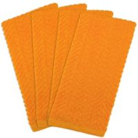 Design Imports 4-Pack Zigzag Kitchen Towels in Orange