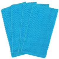 Design Imports 4-Pack Zigzag Kitchen Towels in Neon Blue