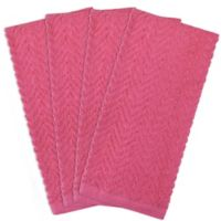 Design Imports 4-Pack Zigzag Kitchen Towels in Neon Pink