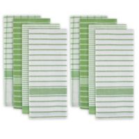 Design Imports 8-Pack Oversized Striped Kitchen Towels in Green