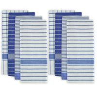 Design Imports 8-Pack Oversized Striped Kitchen Towels in Blue