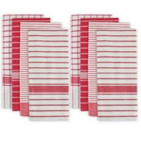 Design Imports 8-Pack Oversized Striped Kitchen Towels in Red