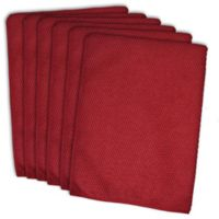 Design Imports 6-Pack Textured Microfiber Kitchen Towels in Red
