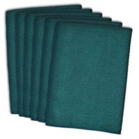 Design Imports 6 Pack Textured Microfiber Kitchen Towels In Teal