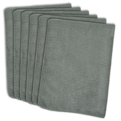 Design Imports 6 Pack Textured Microfiber Kitchen Towels In Grey