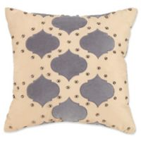 Jessica Simpson Puebla Studded Square Throw Pillow in Natural/Grey