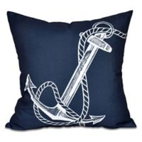Anchor Square Throw Pillow in Navy