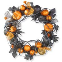 National Tree 20-Inch Halloween Wreath in Black/Orange
