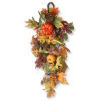 National Tree Company® 26-Inch Decorated Maple Leaf Teardrop Wall Art in Orange