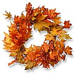 National Tree 24-Inch Maple Leaf Wreath in Orange