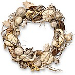 National Tree 20-Inch Pumpkin and Pinecone Wreath in White