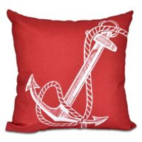 Anchor Square Throw Pillow in Red