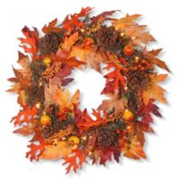 National Tree Pre-Lit 24-Inch Maple Leaf Wreath
