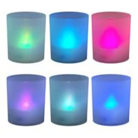 Color Changing Battery Operated LED Lights in Frosted Votive Holders (Set of 6)